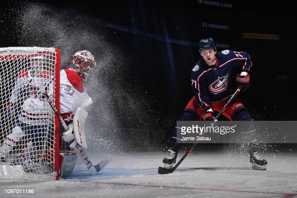 Josh Anderson of the Columbus Blue Jackets skates in front of goaltender Carey Price of the Montreal Canadiens on January 18 2019 at Nationwide Arena...