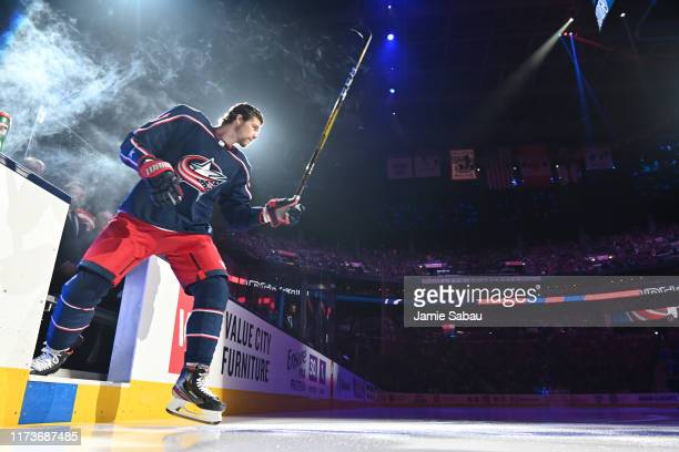 Josh Anderson of the Columbus Blue Jackets takes the ice prior to the season opener against the Toronto Maple Leafs on October 4 2019 at Nationwide...