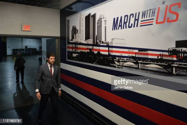 Josh Anderson of the Columbus Blue Jackets walks to the locker room before Game Four of the Eastern Conference First Round against the Tampa Bay...