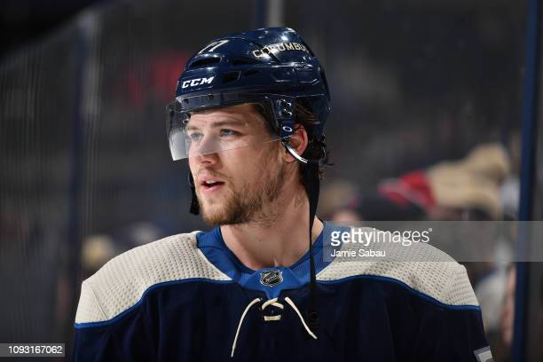 Josh Anderson of the Columbus Blue Jackets warms up prior to a game against the St Louis Blues on February 2 2019 at Nationwide Arena in Columbus Ohio