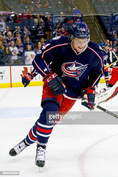 Josh Anderson of the Columbus Blue Jackets warms up prior to the start of the game against the Winnipeg Jets on April 6 2017 at Nationwide Arena in...