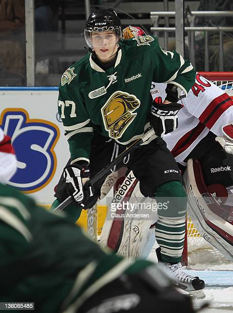 Josh Anderson of the London Knights gets set to tip a shot in a game against the Guelph Storm on December 16, 2011 at the John Labatt Centre in...