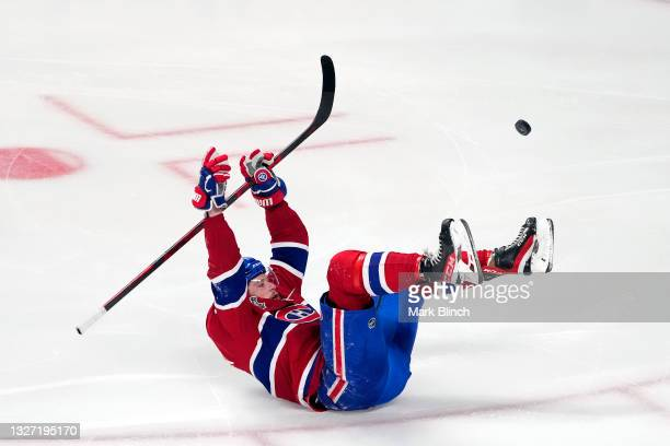 Josh Anderson of the Montreal Canadiens celebrates after scoring the game-winning goal to give his team the 3-2 win against the Tampa Bay Lightning...