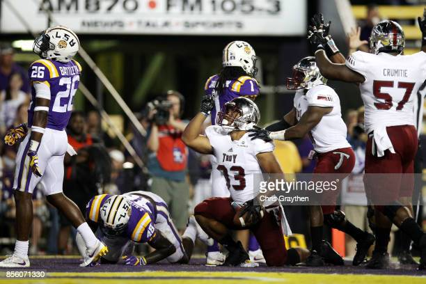 Josh Anderson of the Troy Trojans reacts after scoring a touchdown against the LSU Tigers at Tiger Stadium on September 30 2017 in Baton Rouge...