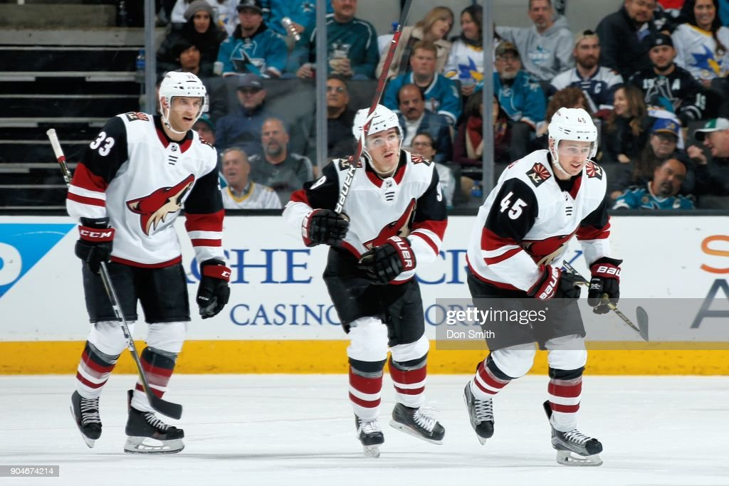 Josh Archibald #45 of the Arizona Coyotes skates away after celebrating his goal in the third period against the San Jose Sharks with teammates at SAP Center on January 13, 2018 in San Jose, California.