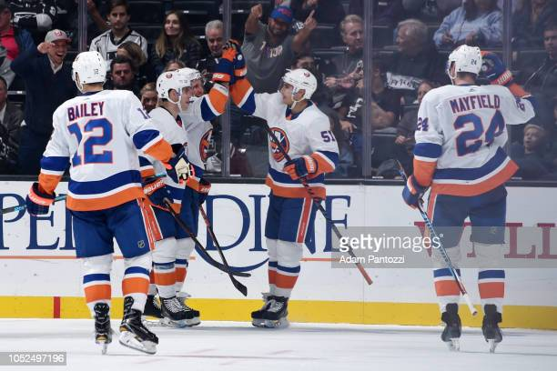 Josh Bailey Andrew Ladd Leo Komarov Valtteri Filppula and Scott Mayfield of the New York Islanders celebrate Komarov's thirdperiod goal during the...