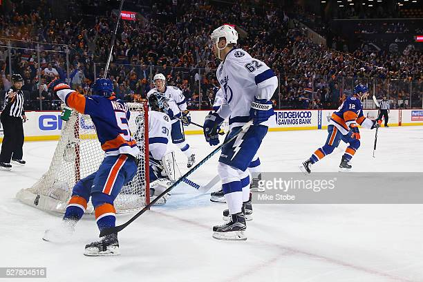 Josh Bailey of the New York Islanders ceebrates his first period goal against the Tampa Bay Lightning in Game Three of the Eastern Conference Second...