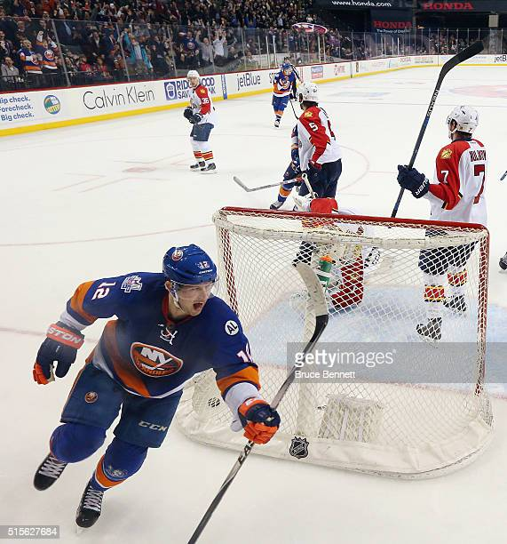 Josh Bailey of the New York Islanders celebrates a game tying goal against Roberto Luongo of the Florida Panthers at the Barclays Center on March 14...