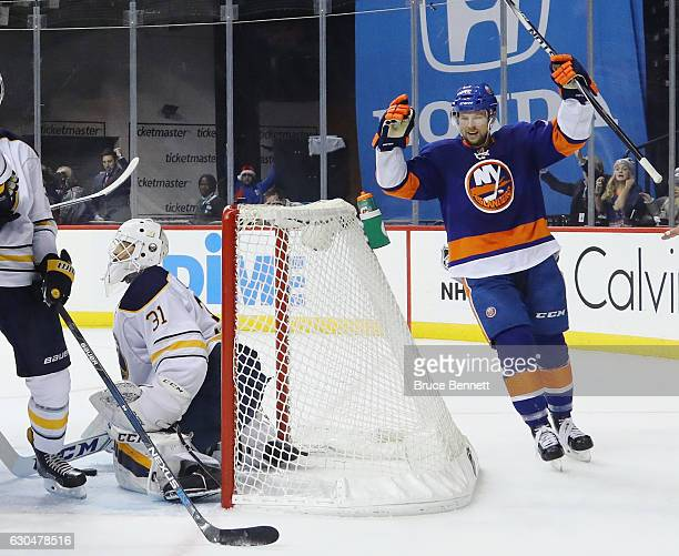 Josh Bailey of the New York Islanders celebrates a powerplay goal by Anders Lee at 1921 of the second period against the Buffalo Sabres at the...