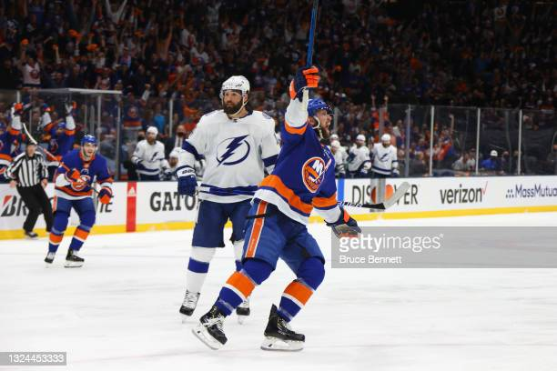 Josh Bailey of the New York Islanders celebrates after scoring a goal on Andrei Vasilevskiy of the Tampa Bay Lightning during the second period in...