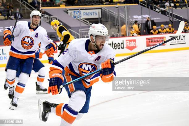 Josh Bailey of the New York Islanders celebrates his goal during the second overtime period against the Pittsburgh Penguins in Game Five of the First...
