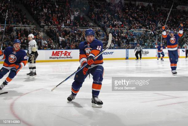Josh Bailey of the New York Islanders celebrates his second period goal against the Pittsburgh Penguins at the Nassau Coliseum on December 29 2010 in...