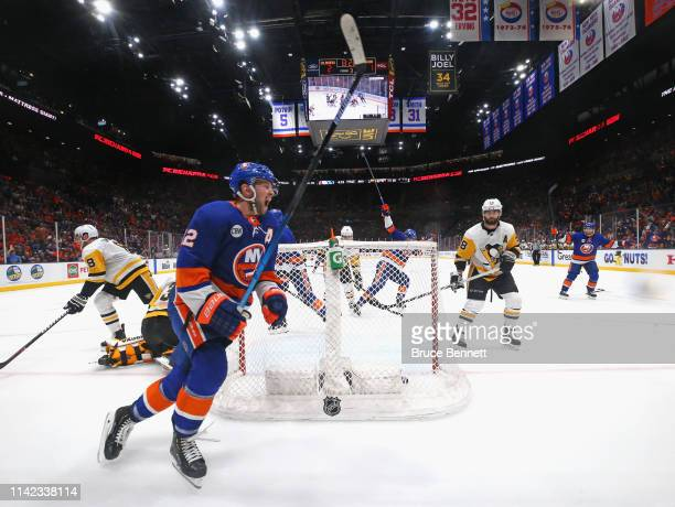 Josh Bailey of the New York Islanders celebrates his third period goal against the Pittsburgh Penguins in Game Two of the Eastern Conference First...