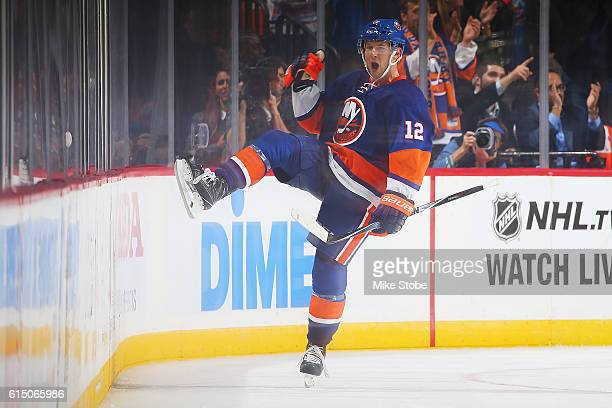 Josh Bailey of the New York Islanders celebrates the game winning goal in overtime against Anaheim Ducks at the Barclays Center on October 16 2016 in...