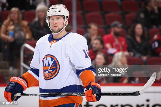 Josh Bailey of the New York Islanders during the first period of the NHL game against the Arizona Coyotes at Gila River Arena on January 22 2018 in...