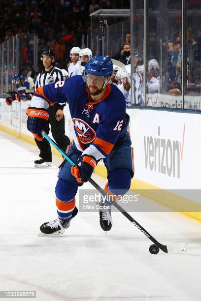 Josh Bailey of the New York Islanders in action against the Tampa Bay Lightning in Game Six of the Stanley Cup Semifinals of the 2021 Stanley Cup...