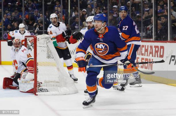Josh Bailey of the New York Islanders looks up ice during the first period against the Calgary Flames at Barclays Center on February 11 2018 in the...