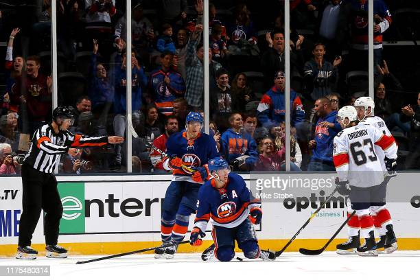 Josh Bailey of the New York Islanders reacts after scoring a goal against the Florida Panthers during the second period at NYCB Live's Nassau...