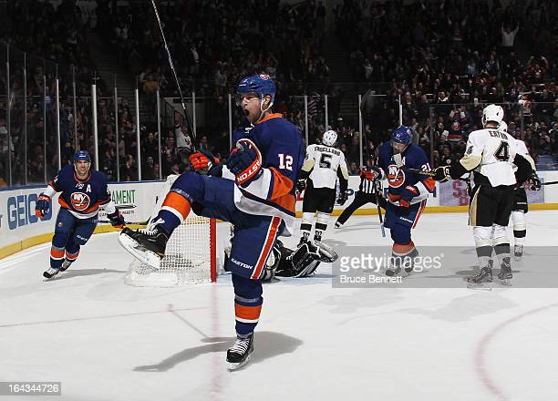 Josh Bailey of the New York Islanders scores at 1718 of the second period against the Pittsburgh Penguins at Nassau Veterans Memorial Coliseum on...