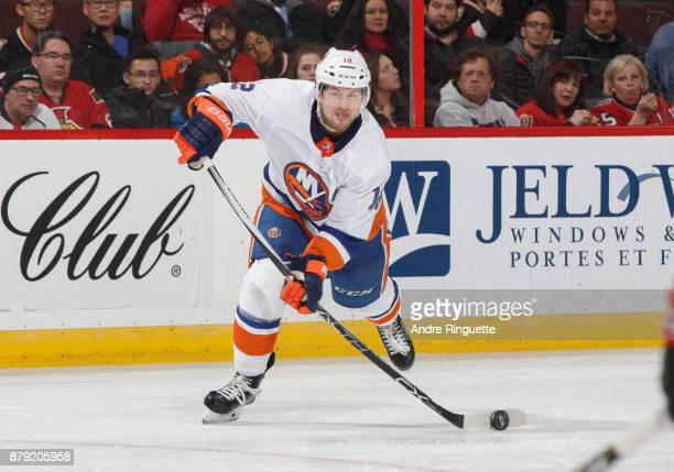 Josh Bailey of the New York Islanders shoots the puck leading to his second period goal against the Ottawa Senators at Canadian Tire Centre on...