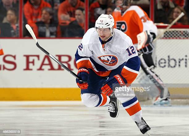 Josh Bailey of the New York Islanders skates against the Philadelphia Flyers with on January 18 2014 at the Wells Fargo Center in Philadelphia...