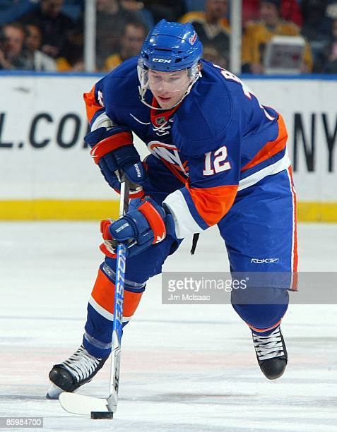 Josh Bailey of the New York Islanders skates against the the Boston Bruins on April 12 2009 at Nassau Coliseum in Uniondale New York The Bruins won...