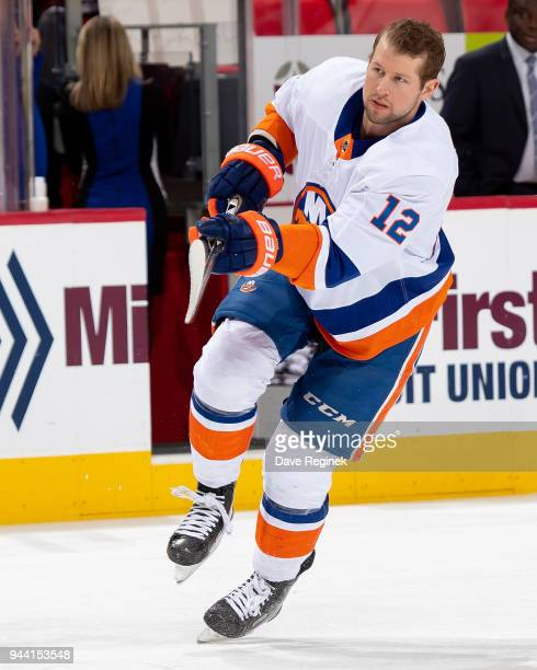 Josh Bailey of the New York Islanders skates in warmups prior to an during an NHL game against the Detroit Red Wings at Little Caesars Arena on April...