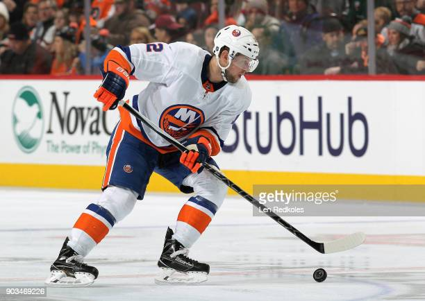 Josh Bailey of the New York Islanders skates the puck against the Philadelphia Flyers on January 4 2018 at the Wells Fargo Center in Philadelphia...
