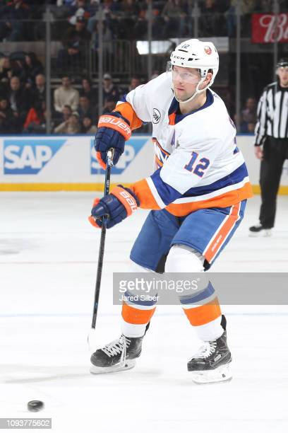 Josh Bailey of the New York Islanders skates with the puck against the New York Rangers at Madison Square Garden on January 10 2019 in New York City...