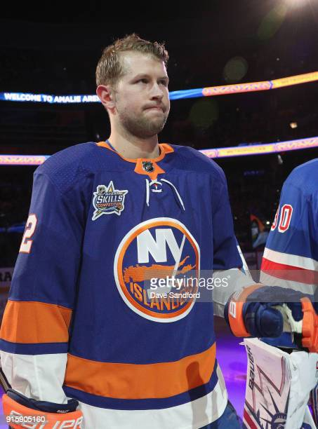 Josh Bailey of the New York Islanders stands on the ice before the 2018 GEICO NHL AllStar Skills Competition at Amalie Arena on January 27 2018 in...