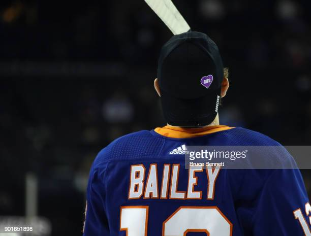 Josh Bailey of the New York Islanders wears a 'DIFD Do It For Daron' hat during warmups prior to their game against the Pittsburgh Penguins at the...