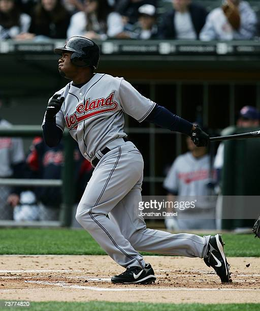 Josh Barfield of the Cleveland Indians hits a tworun triple in the 1st inning against the Chicago White Sox on April 2 2007 during the opening day...