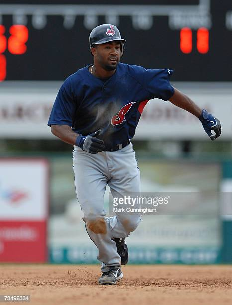 Josh Barfield of the Cleveland Indians runs during the game against the Detroit Tigers at Joker Marchant Stadium in Lakeland Florida on March 3 2007...