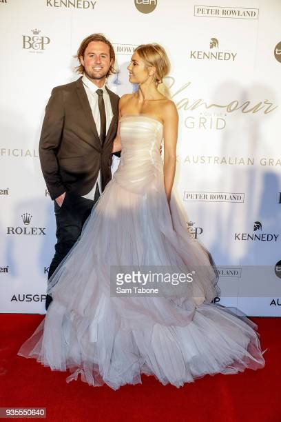 Josh Barker and Elyse Knowles attends the Glamour on The Grid Party at Albert Park on March 21 2018 in Melbourne Australia