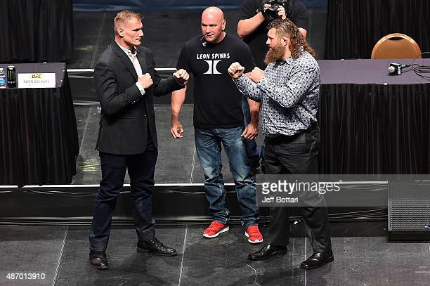 Josh Barnett and Roy Nelson face off during the UFC's Go Big launch event inside MGM Grand Garden Arena on September 4 2015 in Las Vegas Nevada