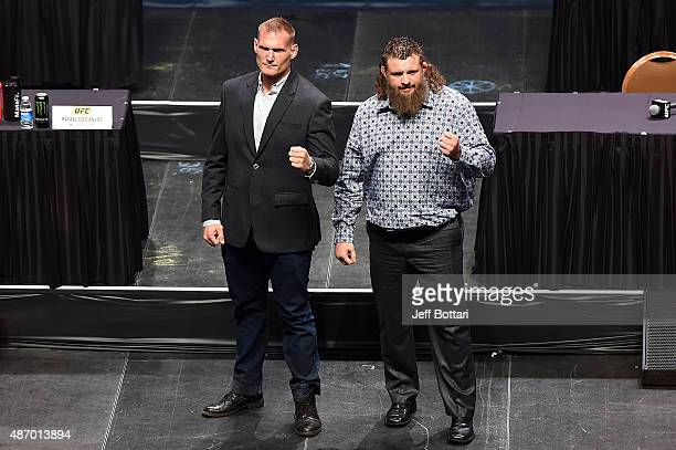 Josh Barnett and Roy Nelson poses for the media during the UFC's Go Big launch event inside MGM Grand Garden Arena on September 4 2015 in Las Vegas...