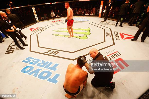 Josh Barnett of USA celebrates his victory over Andrei Arlovski of Belarus in their Heavyweight Bout during the UFC Fight Night held at Barclaycard...