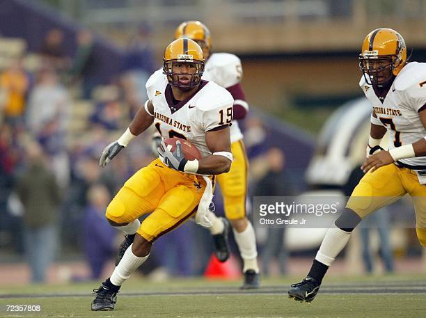 Josh Barrett of the Arizona State Sun Devils carries the ball during the game against the Washington Huskies on October 28 2006 at Husky Stadium in...