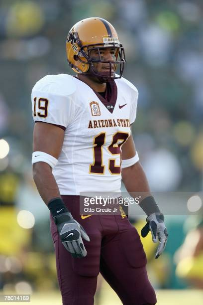 Josh Barrett of the Arizona State Sun Devils looks on during the game against the Oregon Ducks at Autzen Stadium on November 3 2007 in Eugene Oregon...
