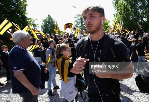 Josh Bassett of Wasps arrives ahead of the Aviva Premiership SemiFinal match between Saracens and Wasps at Allianz Park on May 19 2018 in Barnet...