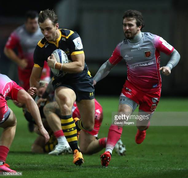 Josh Bassett of Wasps charges upfield during the Heineken Champions Cup Pool 1 match between Dragons and Wasps at Rodney Parade on December 12, 2020...