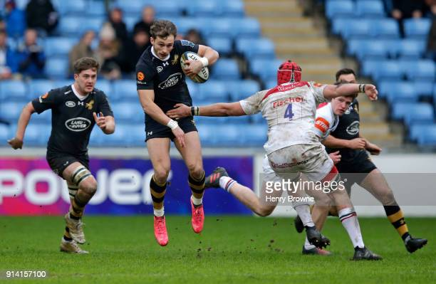 Josh Bassett of Wasps during the AngloWelsh Cup match between Wasps and Leicester Tigers at Ricoh Arena on February 4 2018 in Coventry England