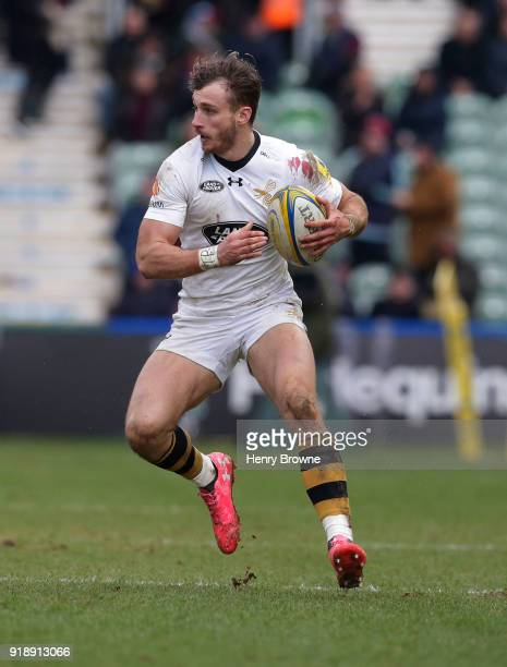Josh Bassett of Wasps during the Aviva Premiership match between Harlequins and Wasps at Twickenham Stoop on February 11 2018 in London England