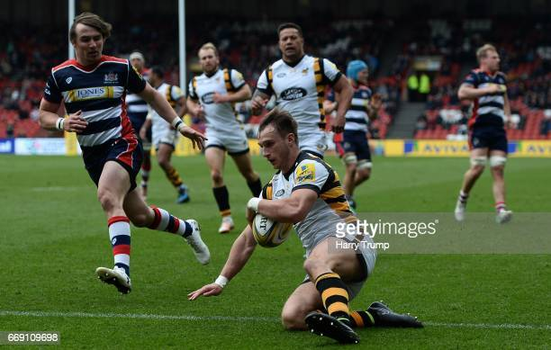 Josh Bassett of Wasps goes over for his side's sixth try during the Aviva Premiership match between Bristol Rugby and Wasps at Ashton Gate on April...