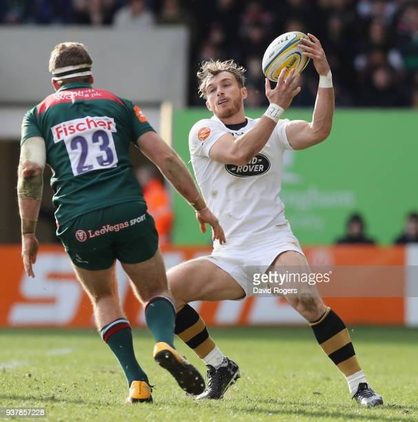 Josh Bassett of Wasps holds onto the ball during the Aviva Premiership match between Leicester Tigers and Wasps at Welford Road on March 25 2018 in...