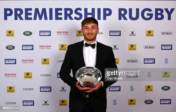 Josh Bassett of Wasps receives the Singha Premiership Rugby 7s player of the Season Award during the Premiership Rugby Awards 2018 at the Royal...