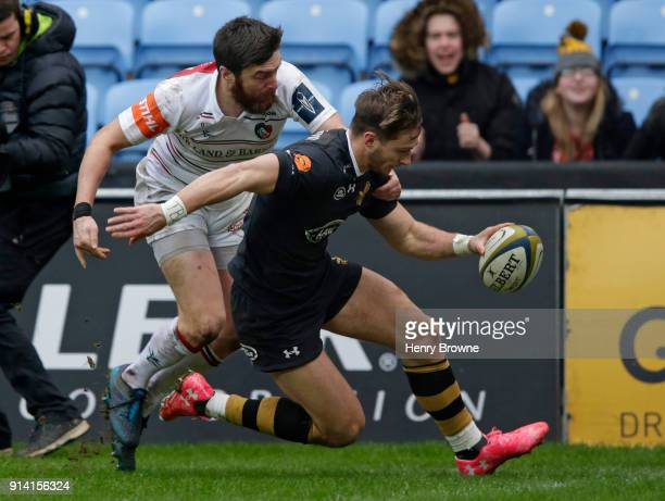Josh Bassett of Wasps scores a try during the AngloWelsh Cup match between Wasps and Leicester Tigers at Ricoh Arena on February 4 2018 in Coventry...