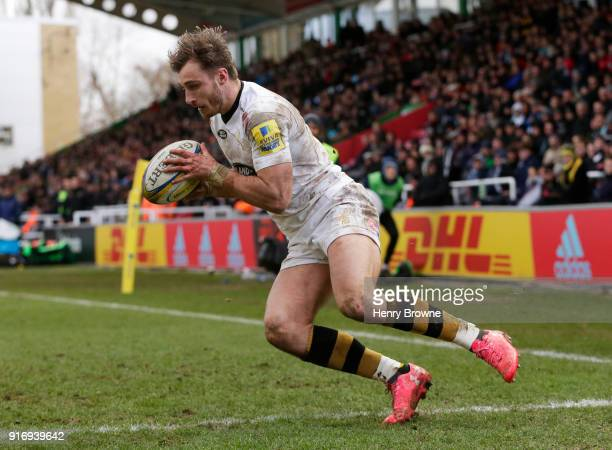 Josh Bassett of Wasps scores a try during the Aviva Premiership match between Harlequins and Wasps at Twickenham Stoop on February 11 2018 in London...