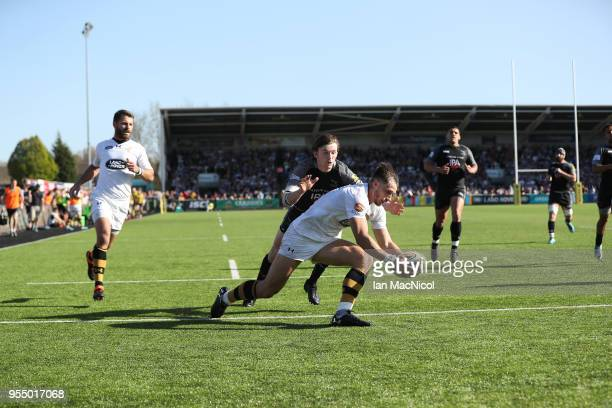 Josh Bassett of Wasps scores his team's fourth try during the Aviva Premiership match between Newcastle Falcons and Wasps at Kingston Park on May 5...