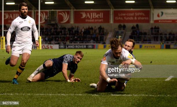 Josh Bassett of Wasps scores the first try of the game during the Aviva Premiership match between Sale Sharks and Wasps at AJ Bell Stadium on April 6...